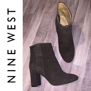 EUC {NINE WEST} Block Heel Suede Ankle Boot, Brown